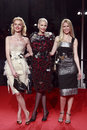 Milan italy march eva herzigova nadja auermann claudia schiffer attend extreme beauty vogue party palazzina della ragione autumn Royalty Free Stock Photo