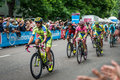 Milan, Italy 31 May  2015; Group of Professional Cyclists in Milan accelerate and prepare the final sprint Royalty Free Stock Photo