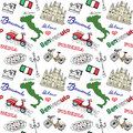 Milan Italy seamless pattern with Hand drawn sketch elements Duomo cathedral, flag, map, pizza, transport and traditional food. Dr