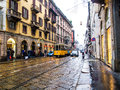 Milan italy street tram and cars on Stock Image