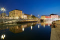 Milan new Darsena, redeveloped docks area in the night, people Royalty Free Stock Photo