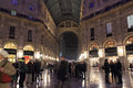 Milan night life italy december inside of the galleria vittorio emanuele illuminated and decorated for the festive season on Stock Photography