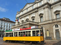 Milan Scala Theatre and cable car Royalty Free Stock Photography