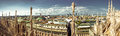 Milan wide panorama ultra of city taken from duomo cathedral rooftop Stock Image