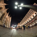 Milano cathedral wide angle view at night Royalty Free Stock Image