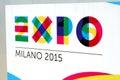 Milano expo nuniversal exposition in in logo Royalty Free Stock Photos