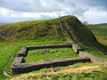 Milecastle on Hadrians Wall, Northumberland National Park, England, Great Britain Royalty Free Stock Photo