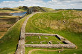 Milecastle on hadrians wall part of in northumberland the scottish border Royalty Free Stock Photo