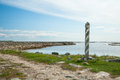Milepost on the road to muksalma solovetsky islands russia Royalty Free Stock Image