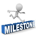 Milestone little man reach and jump over word reach way point or objective concept Stock Photo