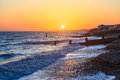 Milford on sea hampshire groynes at sunset in england uk europe Stock Photos