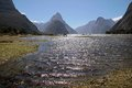 Milford sound and mitre peak southland south island new zealand Stock Photos