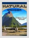 New Zealand, Travel Poster, Fiordland, Milford Sound Royalty Free Stock Photo