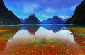 Milford sound new zealand cloudy morning at Royalty Free Stock Image