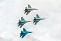 Military air fighters russian su at demonstrative flight Royalty Free Stock Image