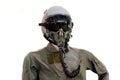 Military air force aviation helmet with uniform Stock Photos