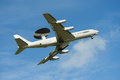 Military air force flying radar Awacs  jet airplane Royalty Free Stock Photo
