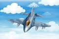 A military aircraft in the sky illustration of Royalty Free Stock Image