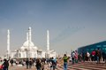 Military airplanes fly near hazrat sultan mosque during the day kazakh army astana kazakhstan may Royalty Free Stock Photography