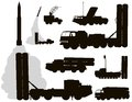 Military anti air aircraft warfare silhouettes set vector on separate layers Royalty Free Stock Photos