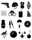 Military army icons set