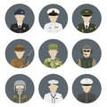 Military avatars vector set in flat style Royalty Free Stock Photo