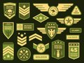 Military badges. American army badge patch or airborne squadron chevron. Badging vector isolated illustration collection