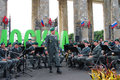 Military band tirol austria performs in moscow by the entrance to the gorki recreation park a conductor stands the middle russian Royalty Free Stock Image