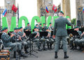 Military band tirol austria performs in moscow by the entrance to the gorki recreation park a conductor stands at right russian Stock Images