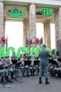 Military band tirol austria performs in moscow by the entrance to the gorki recreation park a conductor stands at right russian Stock Photography