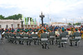 Military band tirol austria performs in moscow by the entrance to the gorki recreation park day of the city celebration taken on Stock Photos