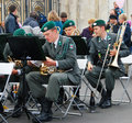 Military band tirol austria performs in moscow musicians from the perform by the entrance to the gorki recreation park day of the Royalty Free Stock Image