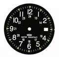 Military black clock dial Royalty Free Stock Photo