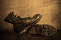 Military boots still life photography with Royalty Free Stock Images