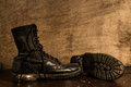 Military boots still life photography with Stock Image