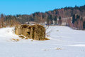 Military bunker in a winter landscape Royalty Free Stock Photo