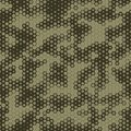 Military Camouflage Seamless pattern, Hexagonal grid background.