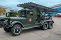 Military car soviet field artillery missile bm world war ii Royalty Free Stock Photography