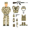 Military character weapon guns symbols armor man set forces design and american fighter ammunition navy camouflage sign