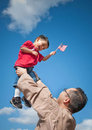 Military child and father Stock Image