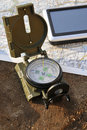 Military compass and navigation Royalty Free Stock Image
