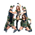 Military dancer team dressed in camouflage dancers isolated on white background full length Royalty Free Stock Photography