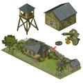 Military garrison, garage, tower and machine gun Royalty Free Stock Photo