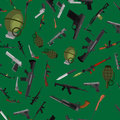 Military gun seamless pattern, automatic and hand weapon in magazine barrel with bullets for protection shoting or war
