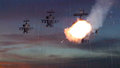 Military gunships being hit by missile and exploding Royalty Free Stock Photo
