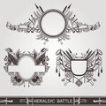 Military heraldic old banners of battle or vintage coasts of arms Royalty Free Stock Photo