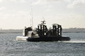 Military hovercraft silhouette a pakistani undergoing trials at southampton uk Stock Image