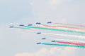 Military italian aircrafts let smoke zhukovsky august of colors of flag at airshow devoted to anniversary of russian air Royalty Free Stock Photos