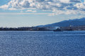 Military Italian warship leaving the harbor. Messina. Sicily. Italy Royalty Free Stock Photo