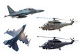 Military jet plane and helicopter Stock Photography